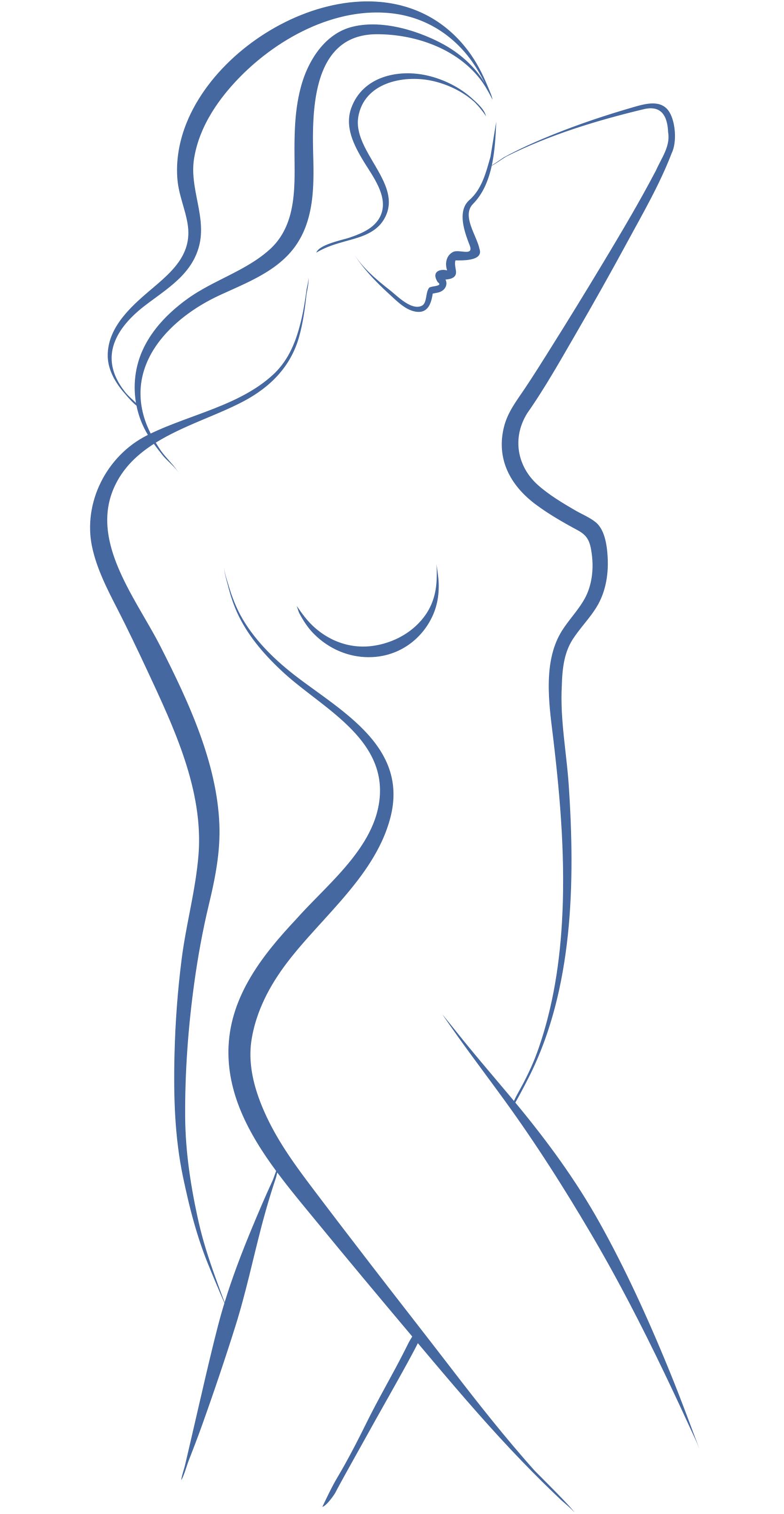 Sketch of Female Body in Blue